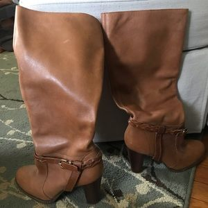 Camel colored calf high boots
